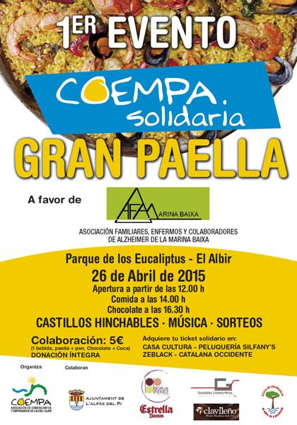 COEMPA anima a los alfasinos a participar en la paella solidaria a beneficio de  AFA Marina Baixa