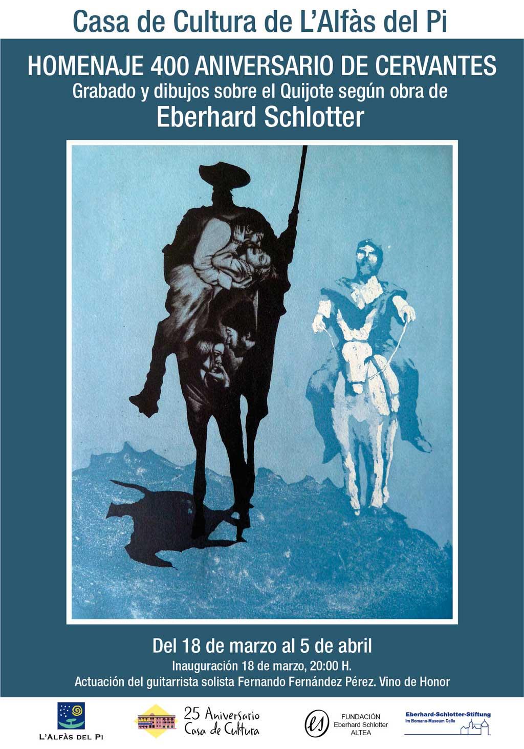 La Casa de Cultura de l'Alfàs acoge una exposición de grabados sobre Don Quijote de La Mancha a cargo de Eberhard Schlotter