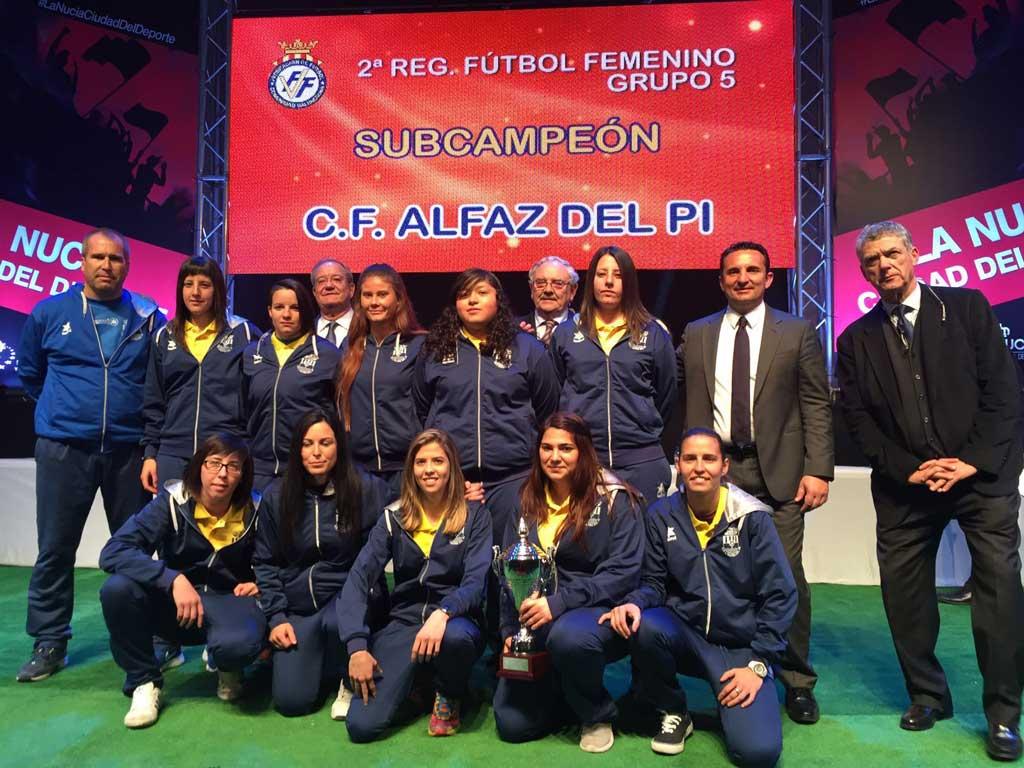 Los tres equipos de fútbol de l'Alfàs de Pi  que ganaron la liga fueron distinguidos en la gala del fútbol que se celebró en la Nucía.
