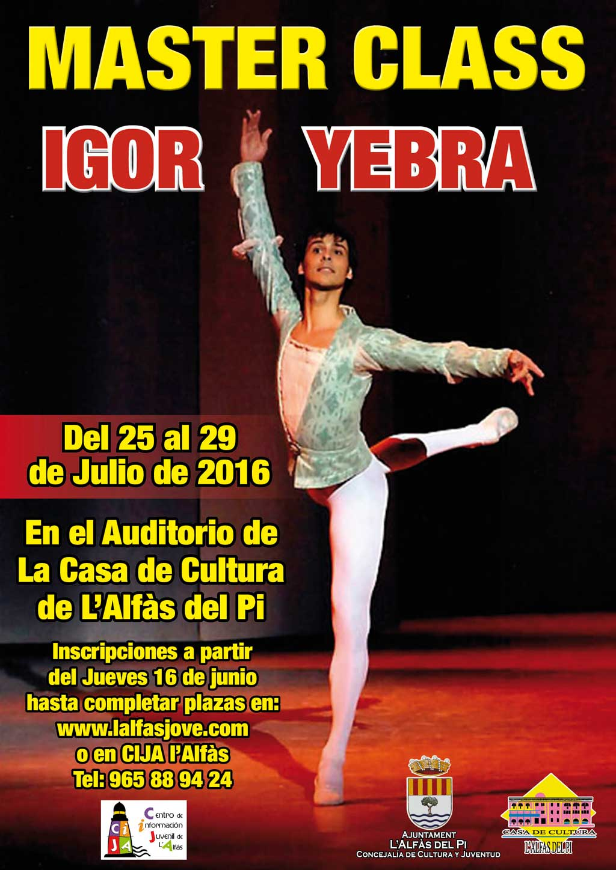 El reconocido bailarín Igor Yebra impartirá una clase magistral de danza en l'Alfàs del Pi