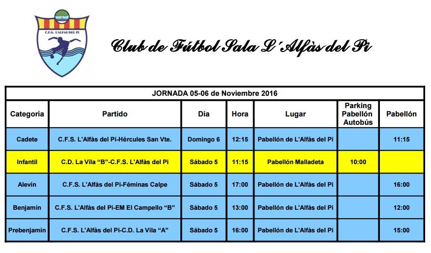 Partidos de Fútbol Sala del fin de semana 5 y 6 de noviembre.