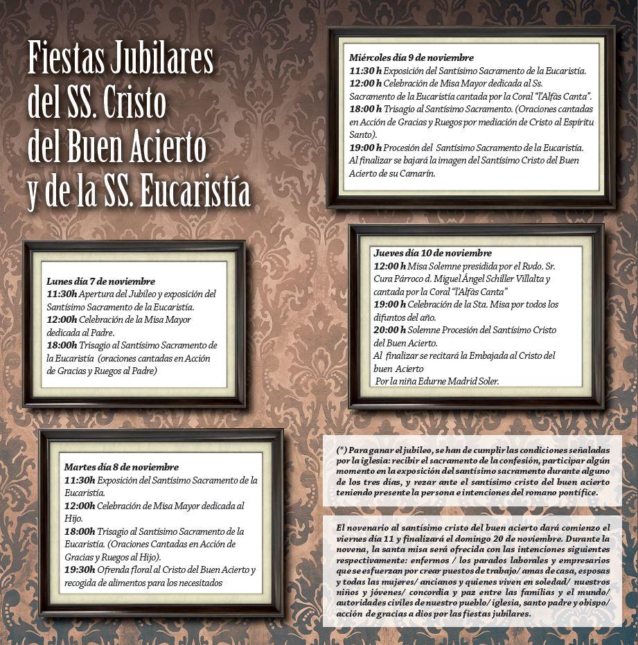 Programa de actos litúrgicos y religiosos Fiestas del Jubileo y del Santísimo Cristo del Buen Acierto2016