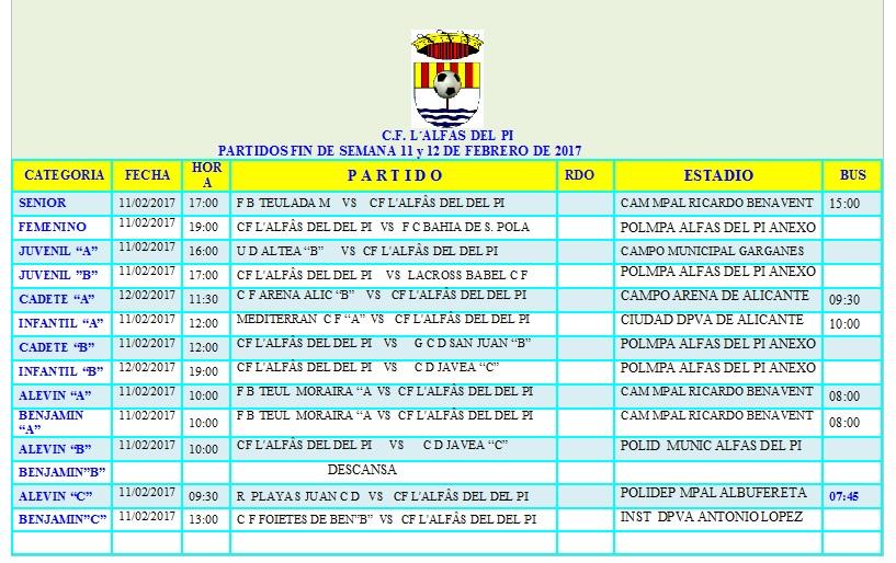 Partidos fútbol de los equipos de l'Alfàs del Pi el fin de semana del 11 y 12 de febrero.