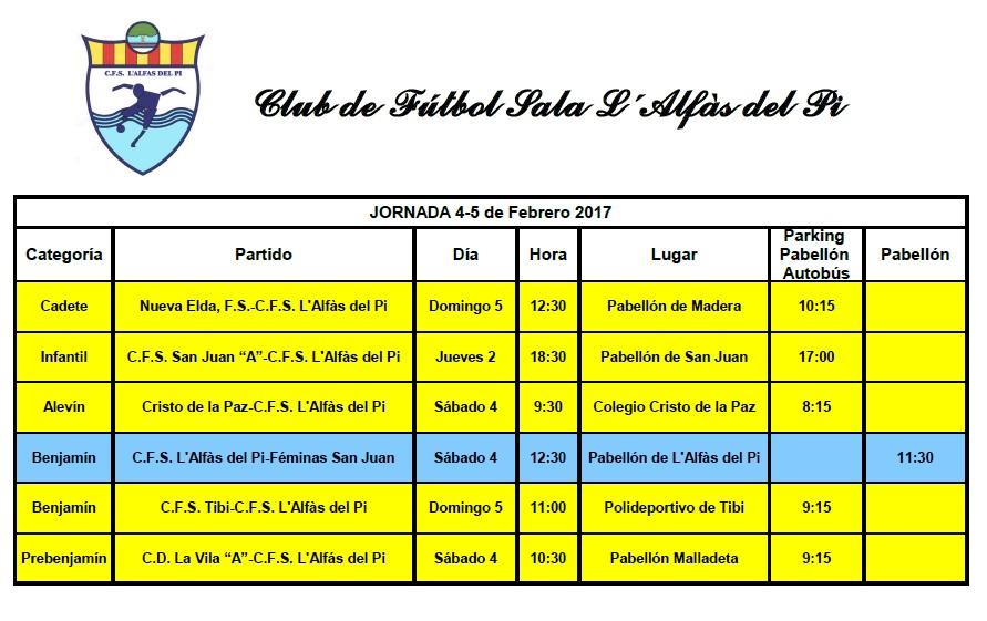 Partidos de fútbol sala de los equipos de l'Alfàs del Pi