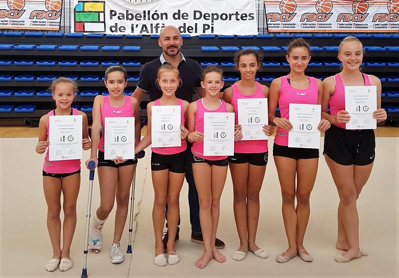 Nueve gimnastas alfasinas consiguen el diploma de grados de evolución deportiva de la Federación Española de Gimnasia