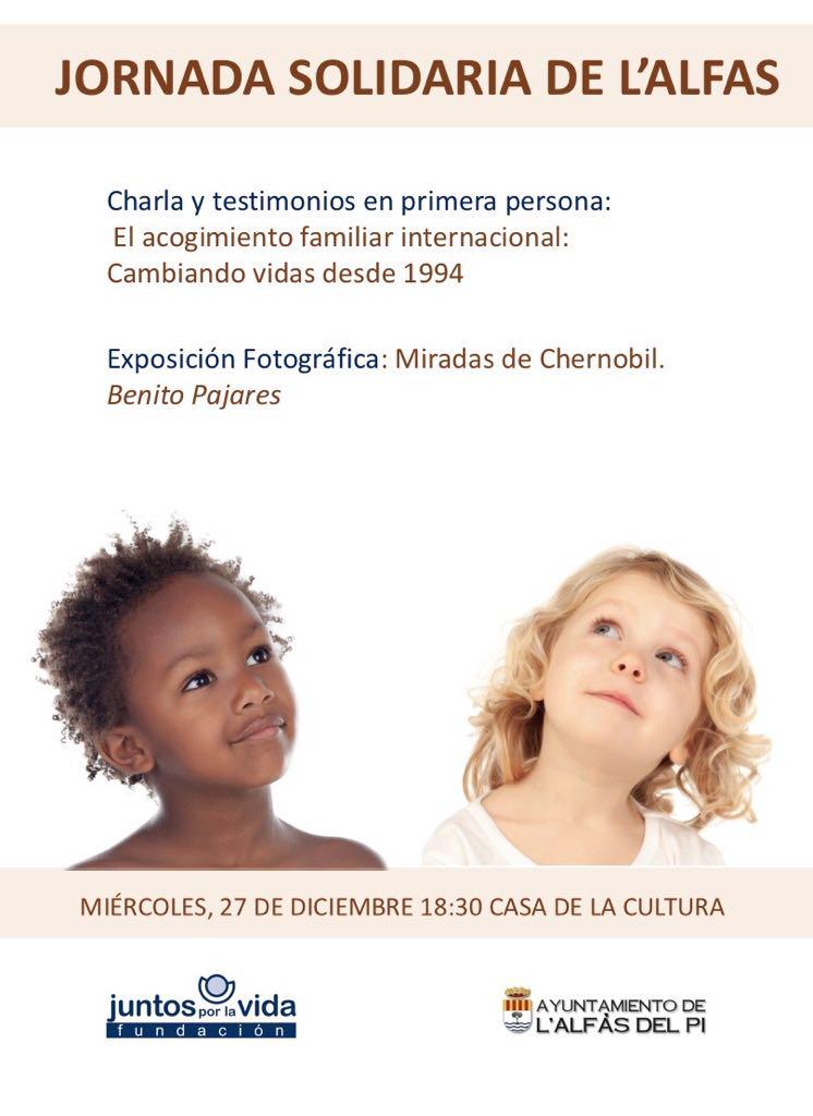 Charla y testimonios sobre el Acogimiento Familiar Internacional el miércoles 27 de diciembre en l'Alfàs