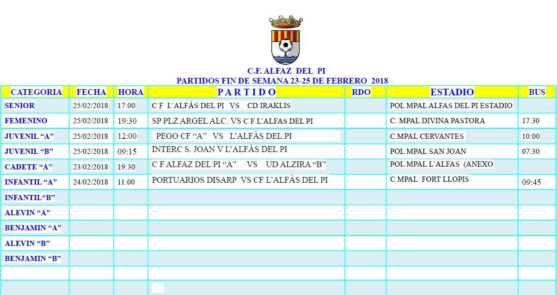 Partidos de fútbol en l'Alfàs del Pi. Del 23 al 25 de febrero