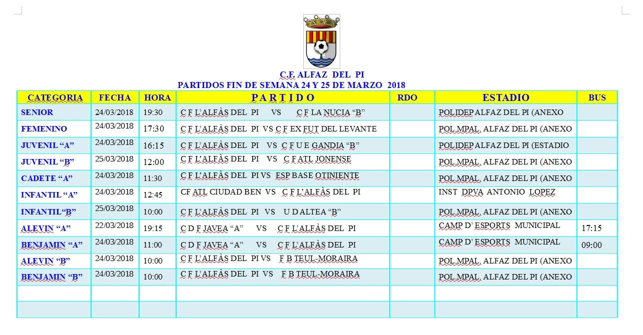 Partidos de fútbol de los equiposd e l'Alfàs del Pi