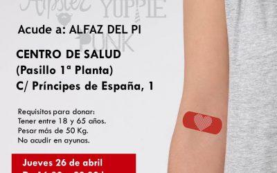 L'Alfàs anima a los jóvenes a donar sangre el jueves 26 de abril