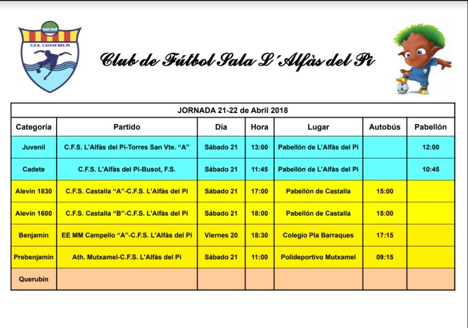 Partidos de fútbol sala en l'Alfàs del Pi este fin de semana