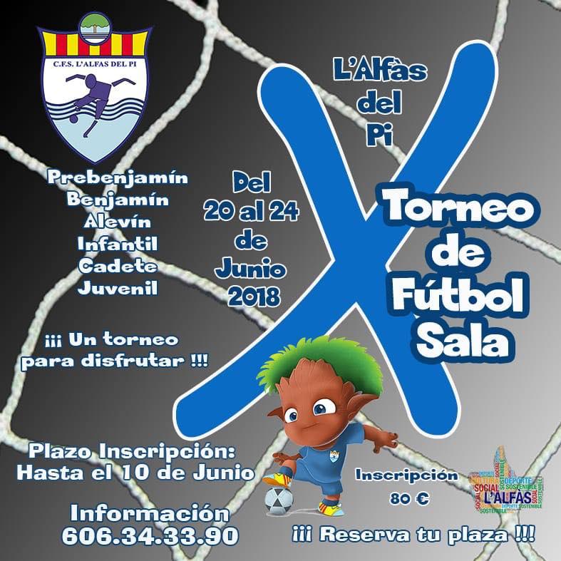 La  X edición del torneo de Fútbol Sala  base de l'Alfàs del Pi  supera la participación  de los anteriores con mas de 40 equipos inscritos.