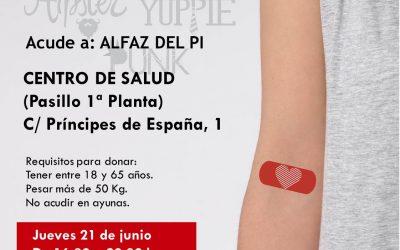 Campaña de donación de sangre el próximo jueves en el Centro de Salud de l'Alfàs del Pi