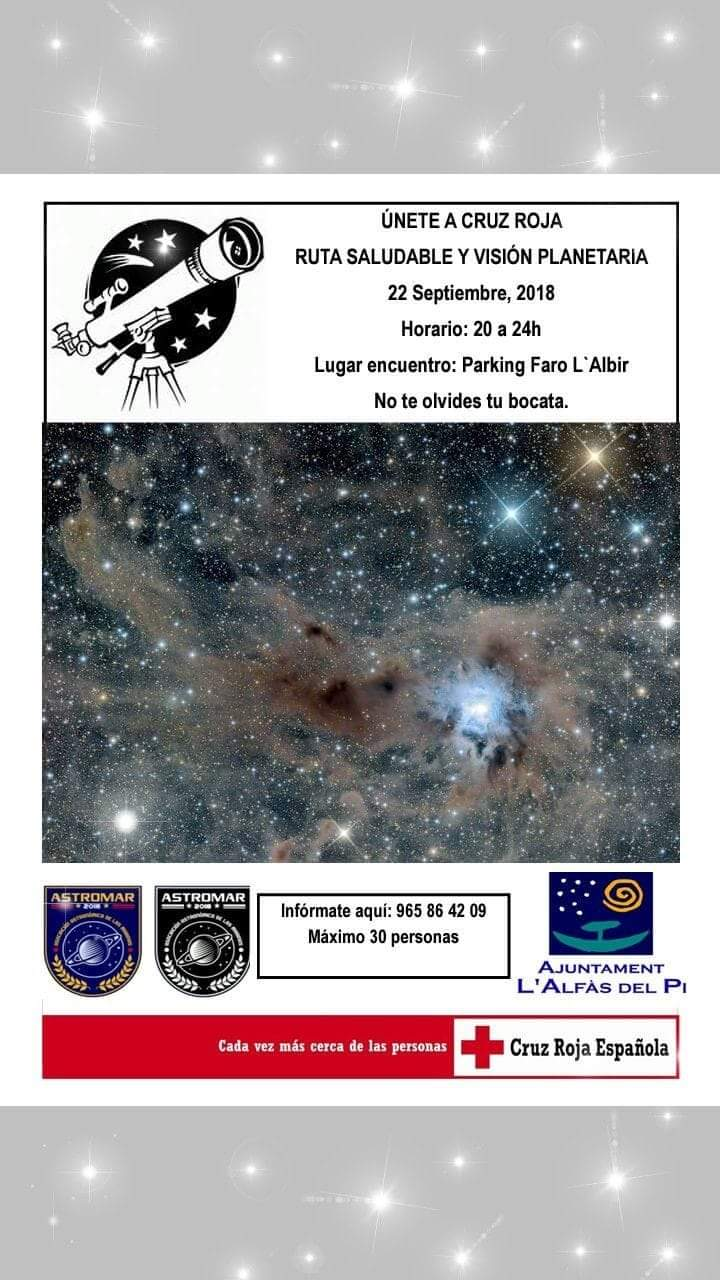 Cruz Roja organiza una ruta nocturna al Faro de l'Albir con observación astronómica
