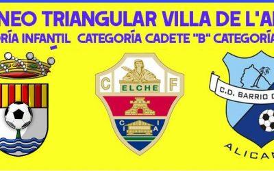 Este fin de semana el CF l'Alfàs del Pi  celebra tres  torneos triangulares con equipos de la provincia.