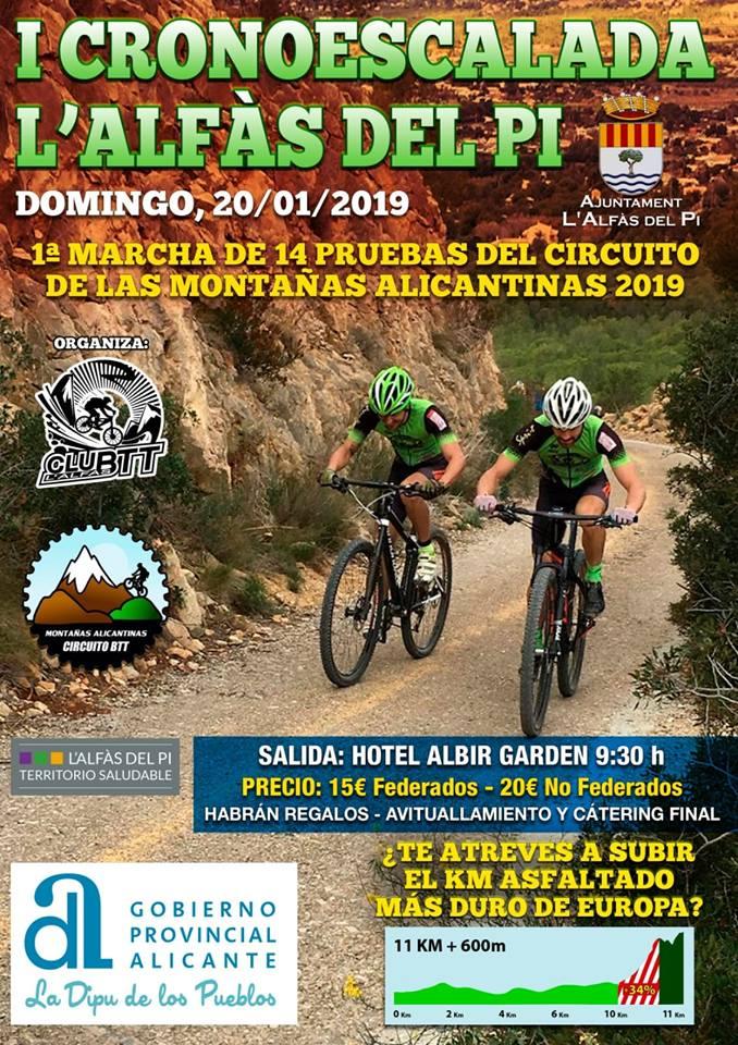 El día 20 comienza el circuito de BTT Montañas Alicantinas en l'Alfàs del Pi.