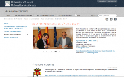 La UA publica en su web las actividades que lanza online el Ayuntamiento de l'Alfàs durante el confinamiento