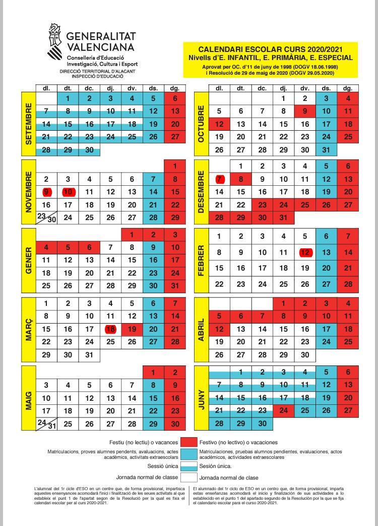 Calendario Escolar Alfàs de lPi. Curso 20-21