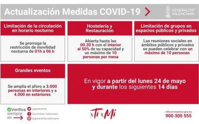 Nuevas Normas y horarios Covid-19 en vigor desde hoy y hasta el 7 de junio