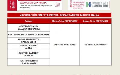 Este es el horario de vacunación contra la Covid en el Hogar del Pensionista de l'Alfàs