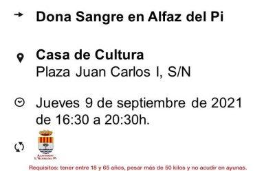 Nueva campaña de donación de sangre este jueves 9 de septiembre en la Casa de Cultura de l'Alfàs
